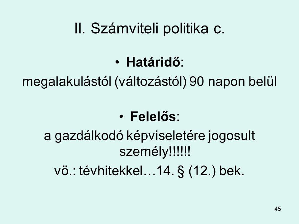 II. Számviteli politika c.