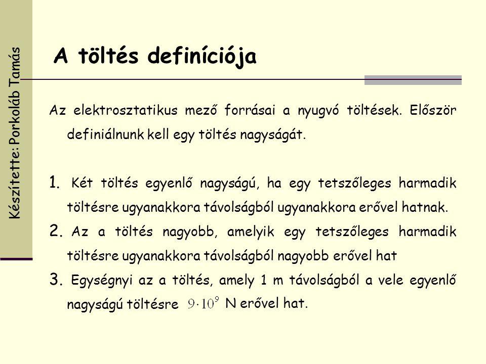 A töltés definíciója Készítette: Porkoláb Tamás