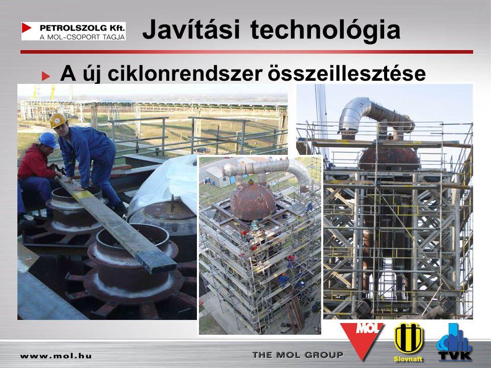Javítási technológia A új ciklonrendszer összeillesztése