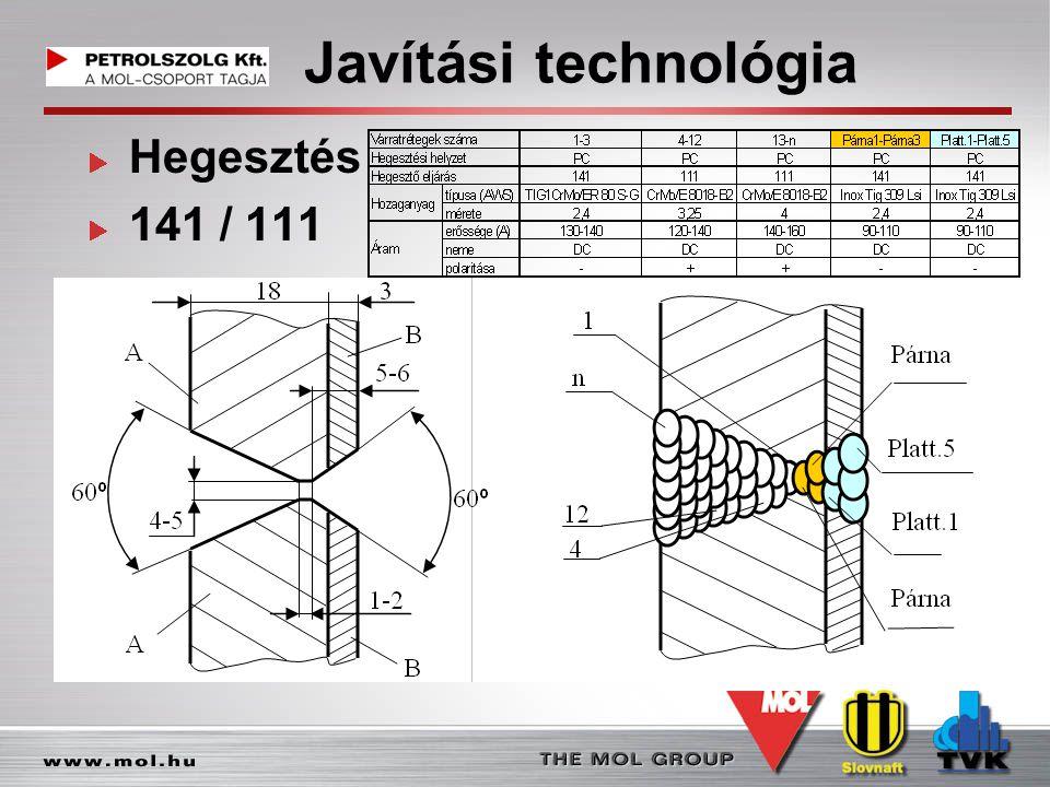 Javítási technológia Hegesztés 141 / 111