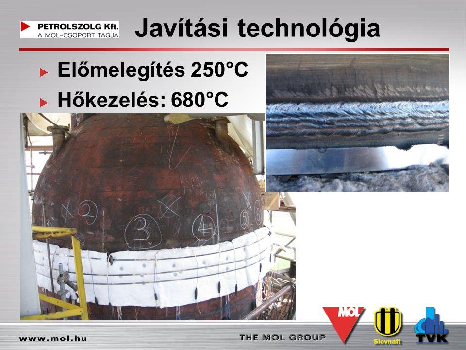 Javítási technológia Előmelegítés 250°C Hőkezelés: 680°C