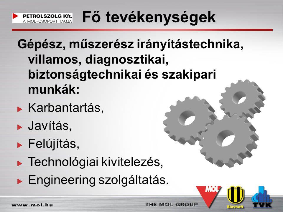 Fő tevékenységek Gépész, műszerész irányítástechnika, villamos, diagnosztikai, biztonságtechnikai és szakipari munkák: