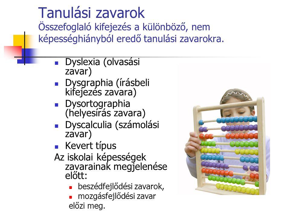 Tanulási zavarok Összefoglaló kifejezés a különböző, nem képességhiányból eredő tanulási zavarokra.