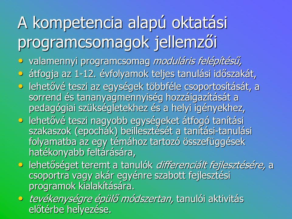 A kompetencia alapú oktatási programcsomagok jellemzői