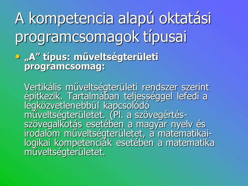 A kompetencia alapú oktatási programcsomagok típusai