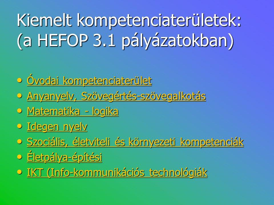 Kiemelt kompetenciaterületek: (a HEFOP 3.1 pályázatokban)