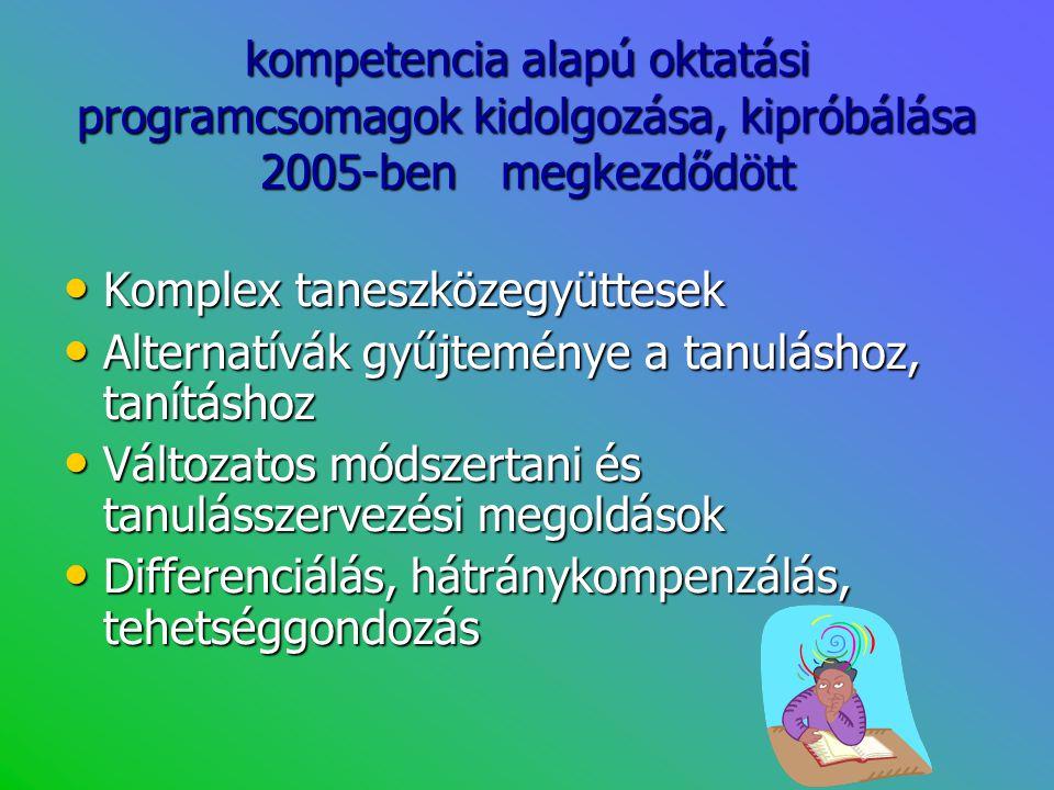kompetencia alapú oktatási programcsomagok kidolgozása, kipróbálása 2005-ben megkezdődött