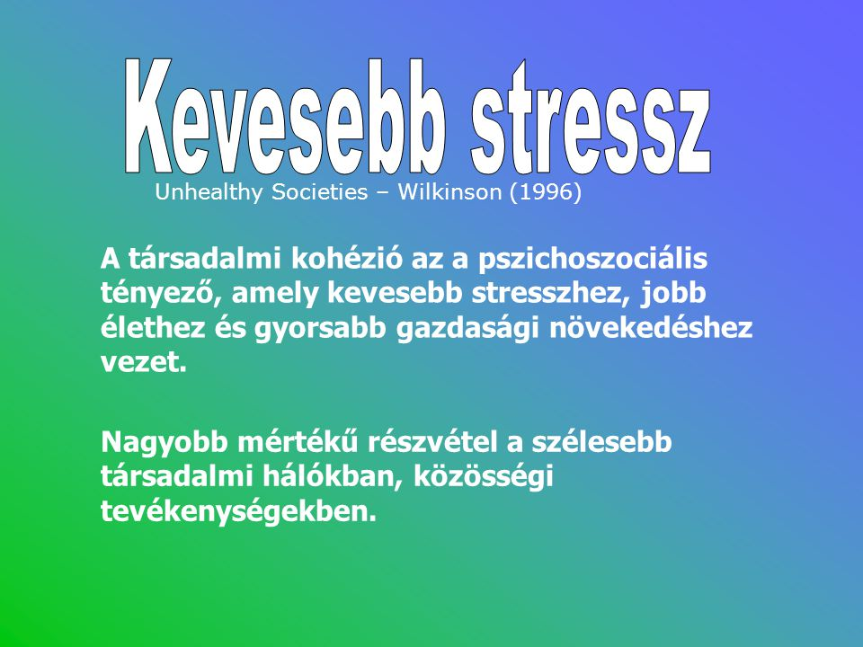 Kevesebb stressz Unhealthy Societies – Wilkinson (1996)