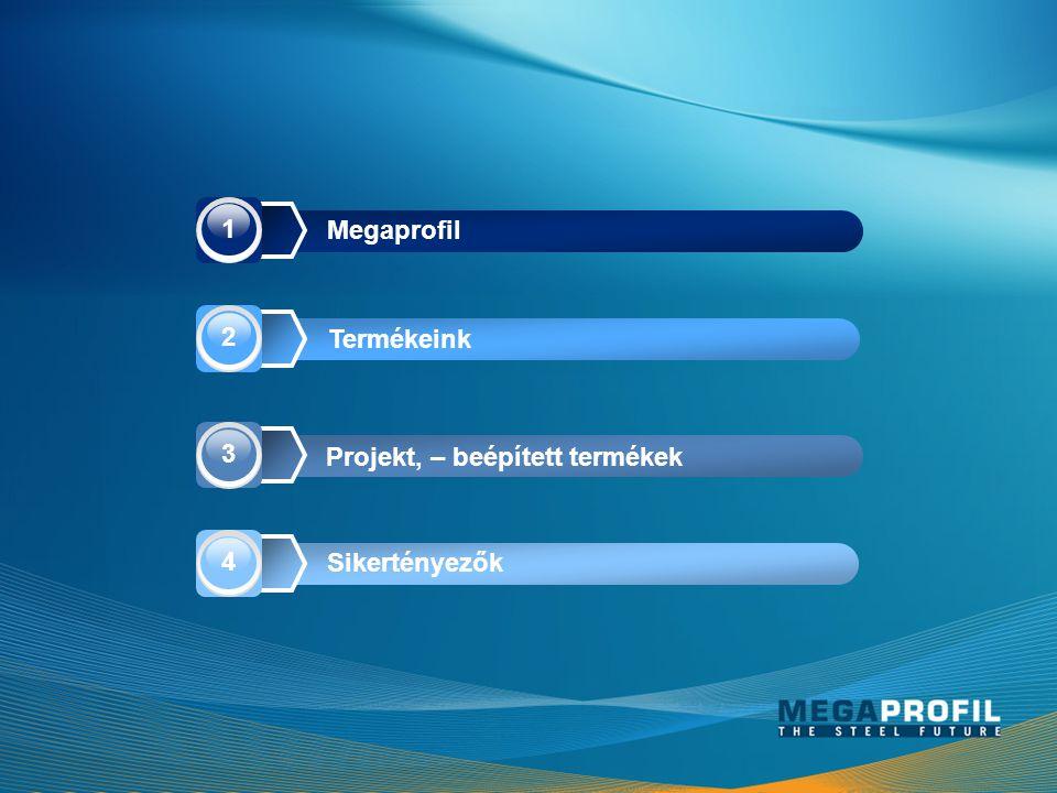 1 Megaprofil 2 Termékeink 3 Projekt, – beépített termékek 4 Sikertényezők