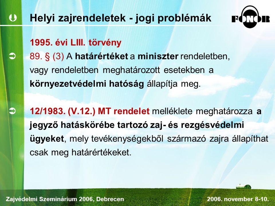 Helyi zajrendeletek - jogi problémák