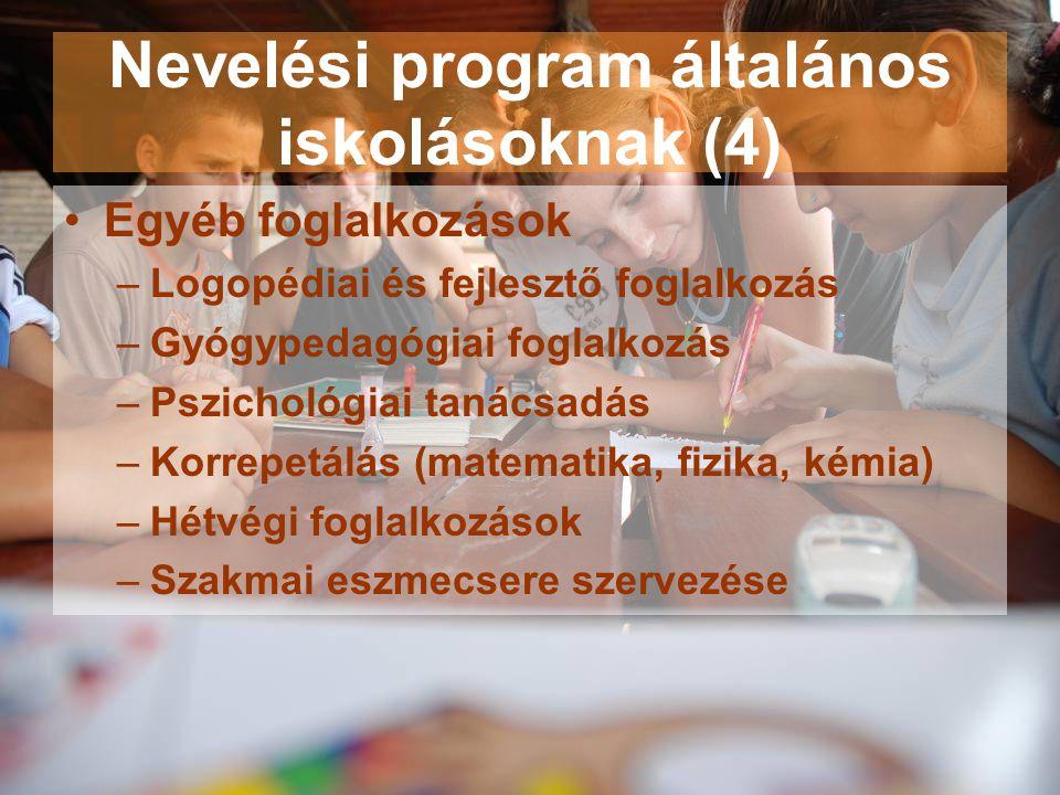 Nevelési program általános iskolásoknak (4)