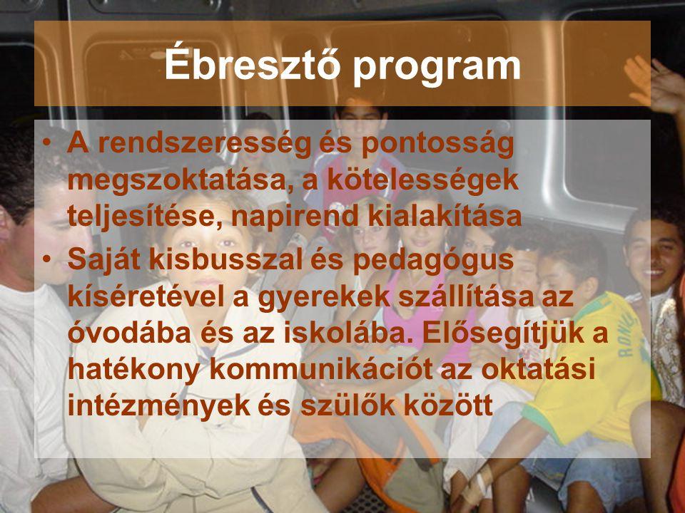 Ébresztő program A rendszeresség és pontosság megszoktatása, a kötelességek teljesítése, napirend kialakítása.