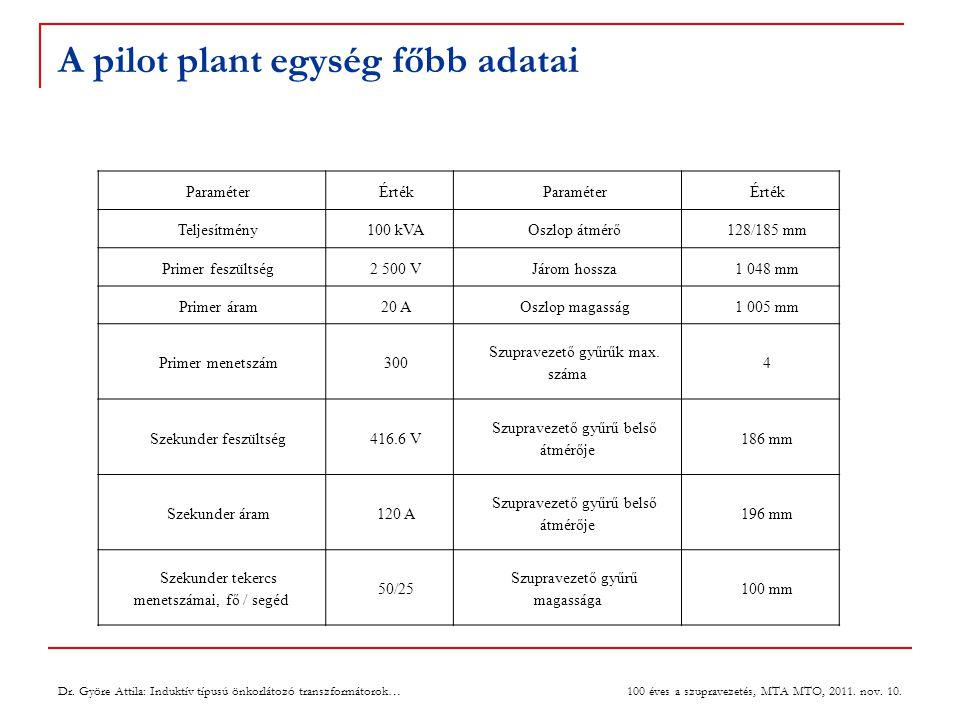 A pilot plant egység főbb adatai