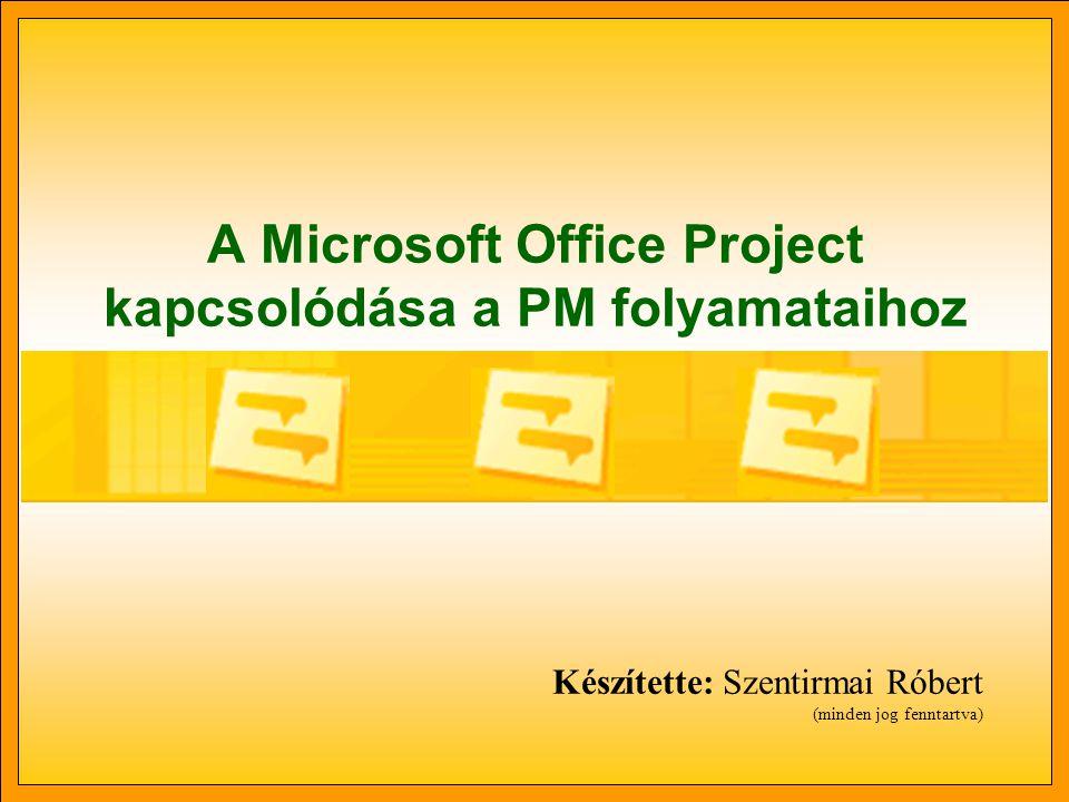 A Microsoft Office Project kapcsolódása a PM folyamataihoz