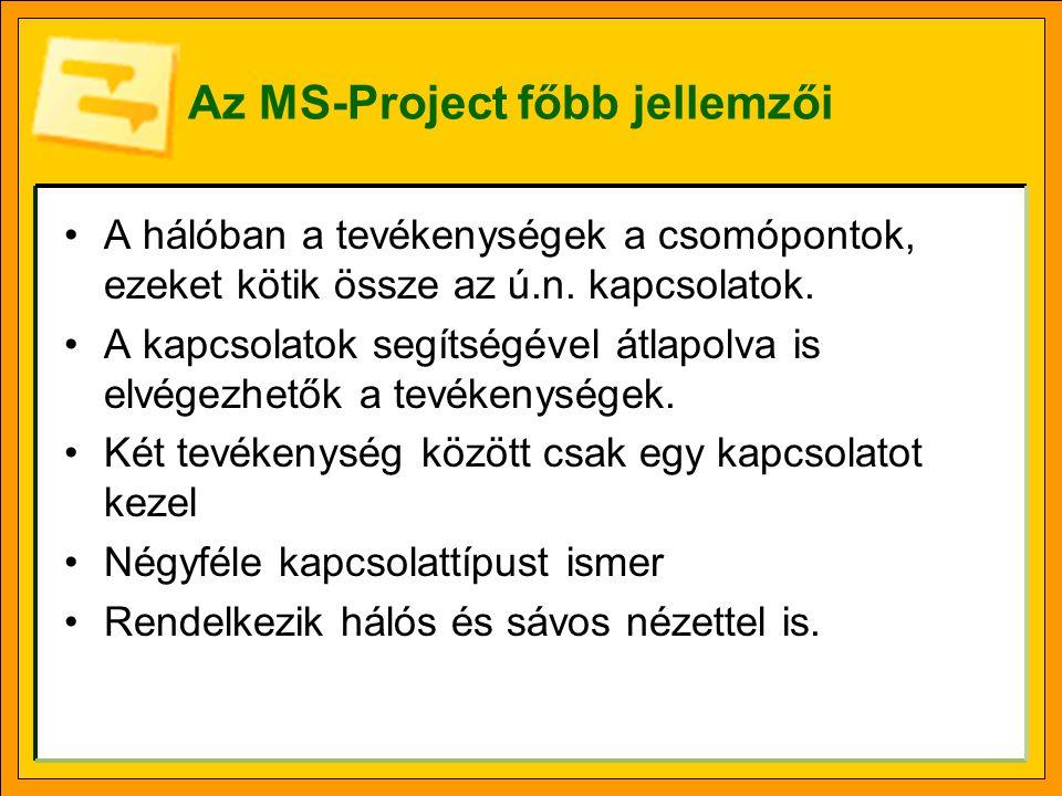 Az MS-Project főbb jellemzői