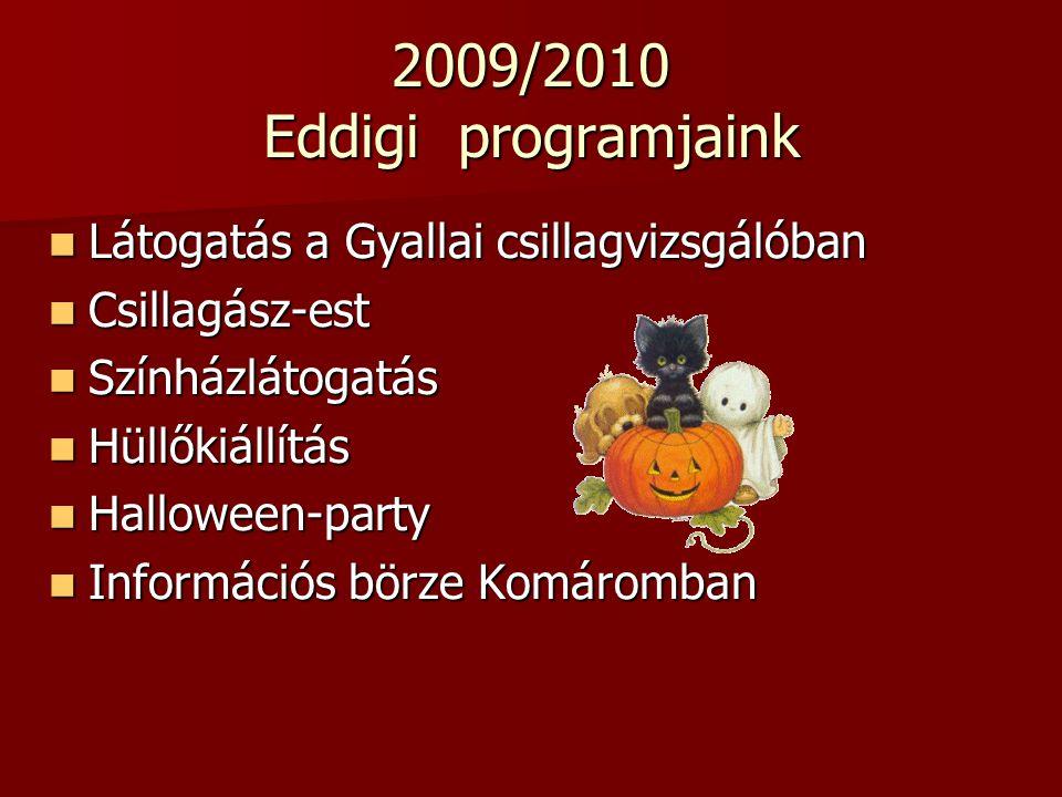 2009/2010 Eddigi programjaink Látogatás a Gyallai csillagvizsgálóban