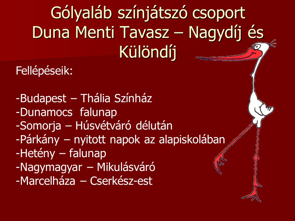 Gólyaláb színjátszó csoport Duna Menti Tavasz – Nagydíj és Különdíj