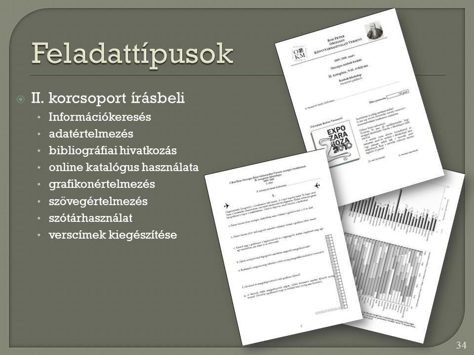 Feladattípusok II. korcsoport írásbeli Információkeresés