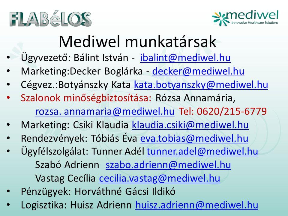 Mediwel munkatársak Ügyvezető: Bálint István - ibalint@mediwel.hu