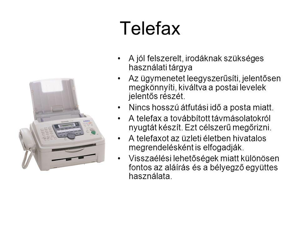 Telefax A jól felszerelt, irodáknak szükséges használati tárgya