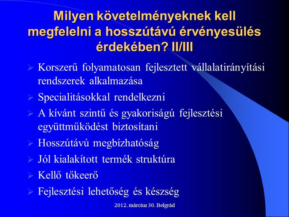 Milyen követelményeknek kell megfelelni a hosszútávú érvényesülés érdekében II/III