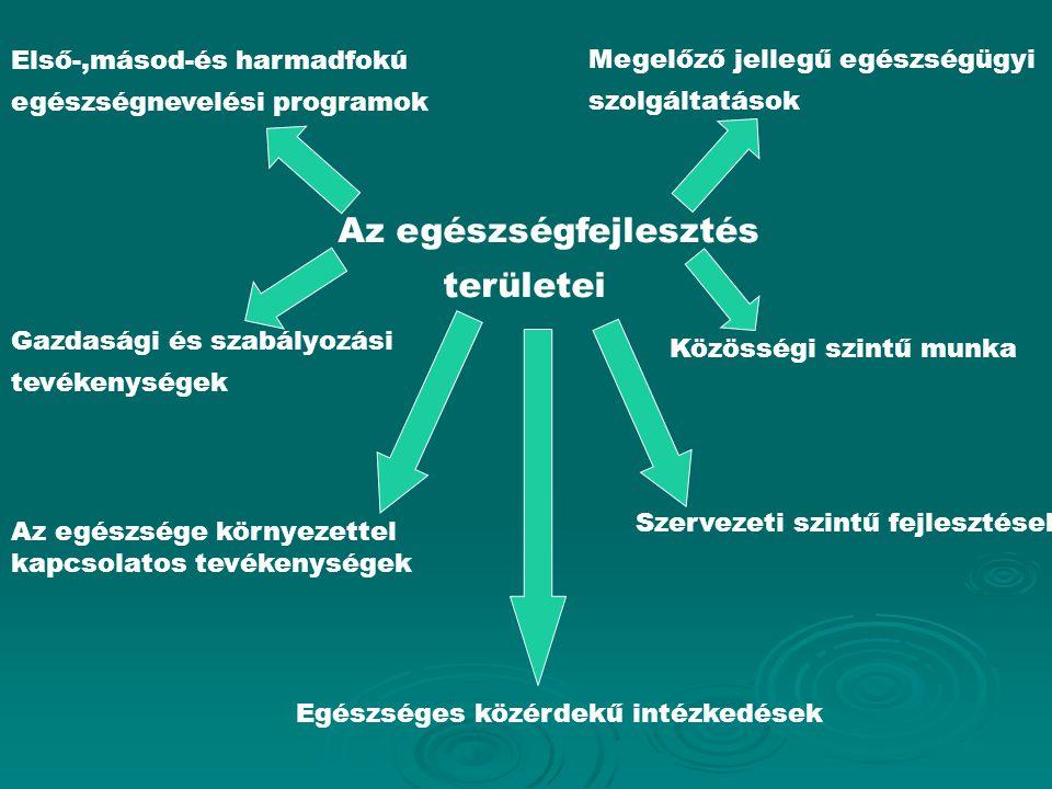 Az egészségfejlesztés területei