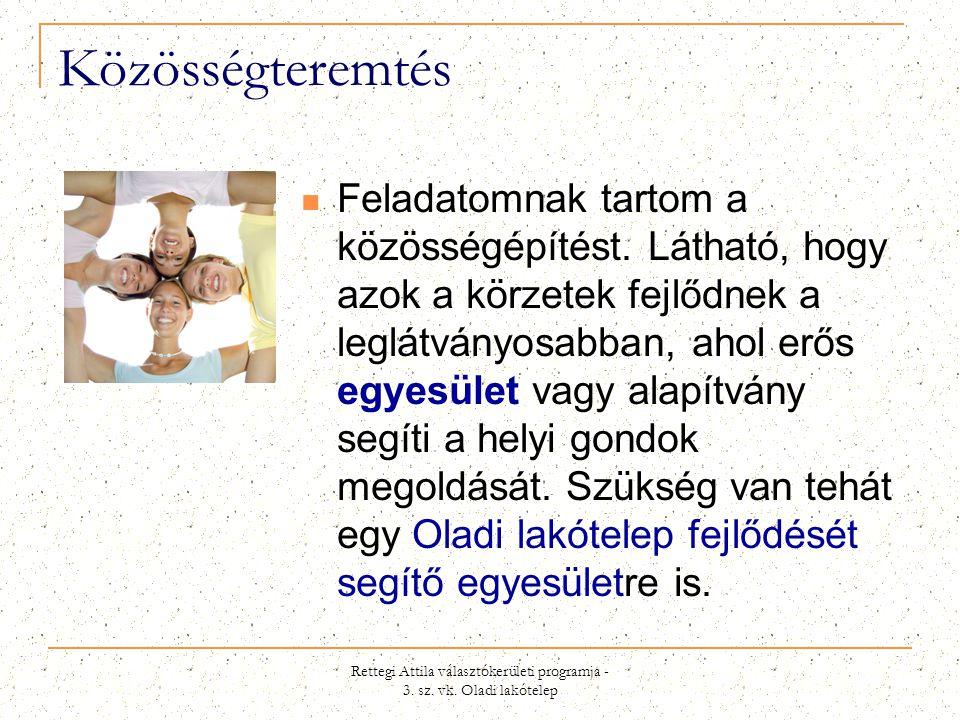 Rettegi Attila választókerületi programja - 3. sz. vk. Oladi lakótelep