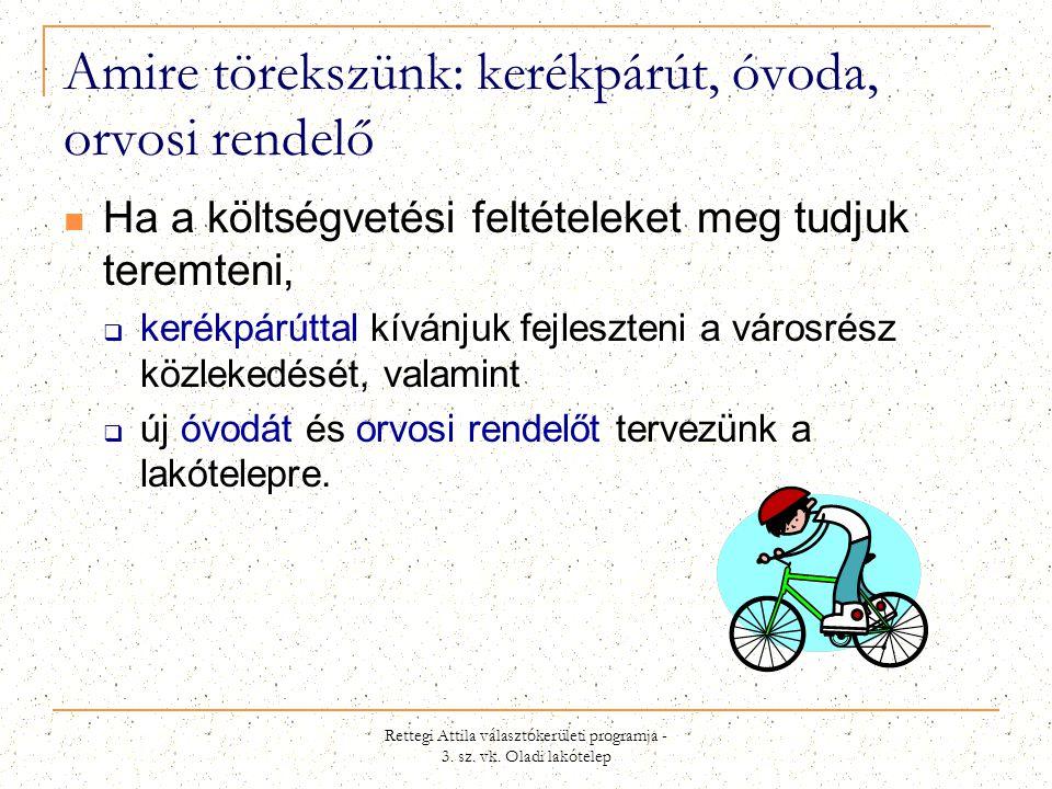 Amire törekszünk: kerékpárút, óvoda, orvosi rendelő