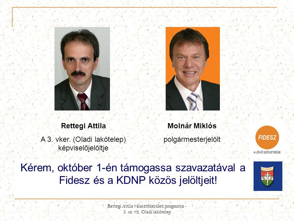 Rettegi Attila A 3. vker. (Oladi lakótelep) képviselőjelöltje. Molnár Miklós. polgármesterjelölt.