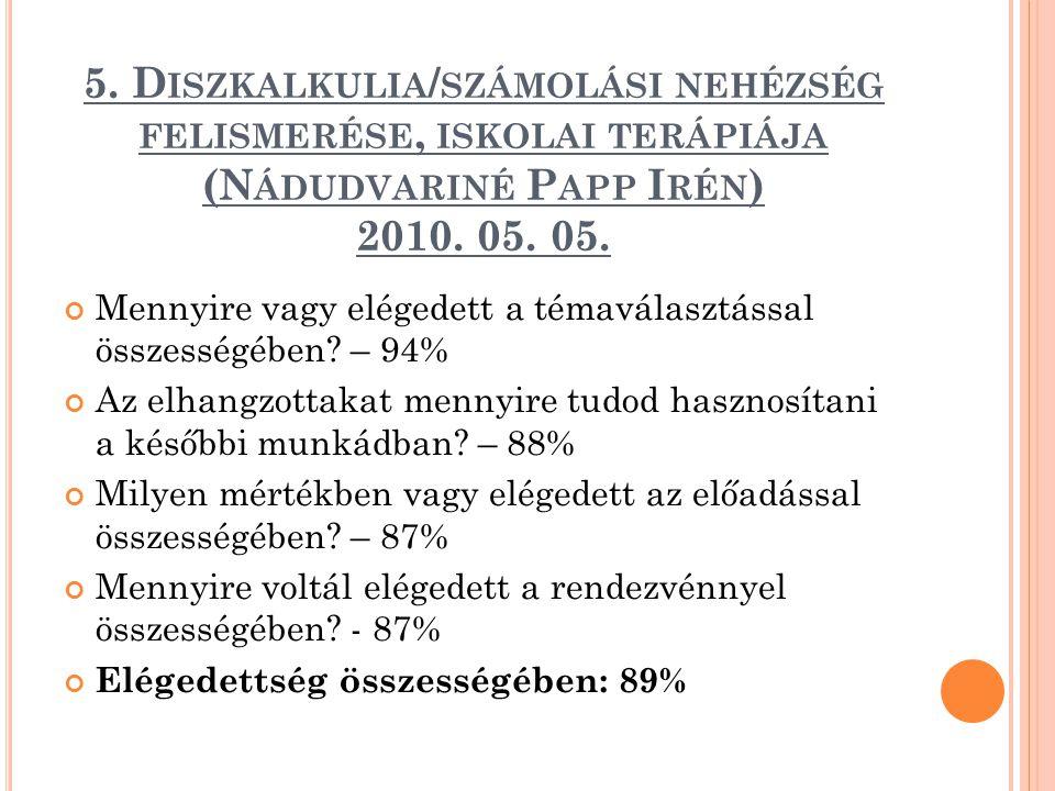 5. Diszkalkulia/számolási nehézség felismerése, iskolai terápiája (Nádudvariné Papp Irén) 2010. 05. 05.