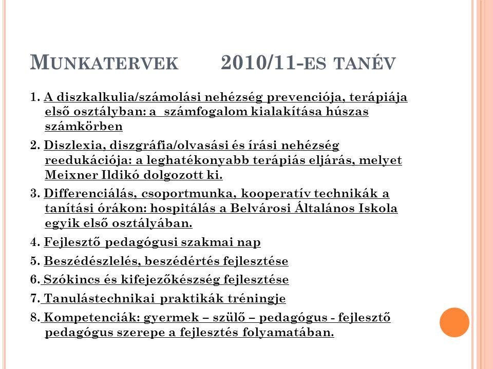 Munkatervek 2010/11-es tanév