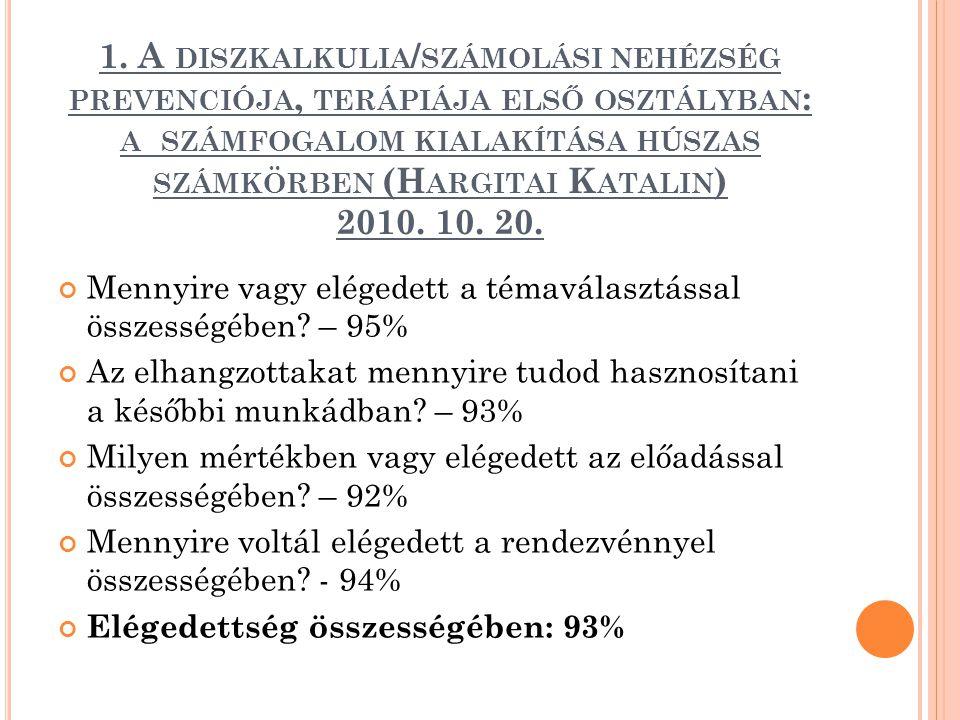 1. A diszkalkulia/számolási nehézség prevenciója, terápiája első osztályban: a számfogalom kialakítása húszas számkörben (Hargitai Katalin) 2010. 10. 20.