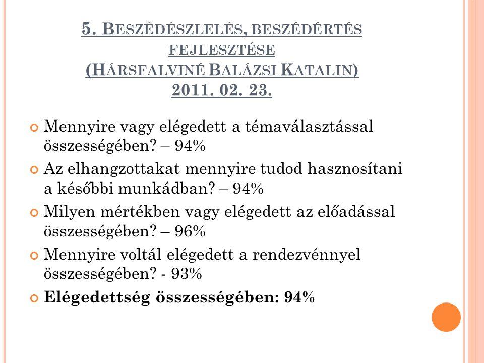 5. Beszédészlelés, beszédértés fejlesztése (Hársfalviné Balázsi Katalin) 2011. 02. 23.