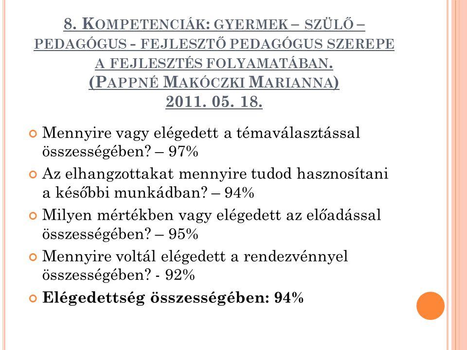 8. Kompetenciák: gyermek – szülő – pedagógus - fejlesztő pedagógus szerepe a fejlesztés folyamatában. (Pappné Makóczki Marianna) 2011. 05. 18.