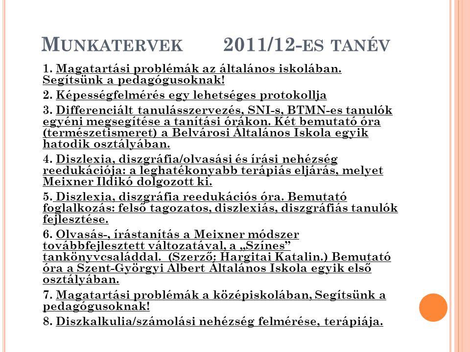 Munkatervek 2011/12-es tanév