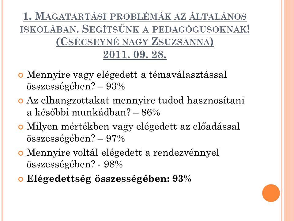 1. Magatartási problémák az általános iskolában