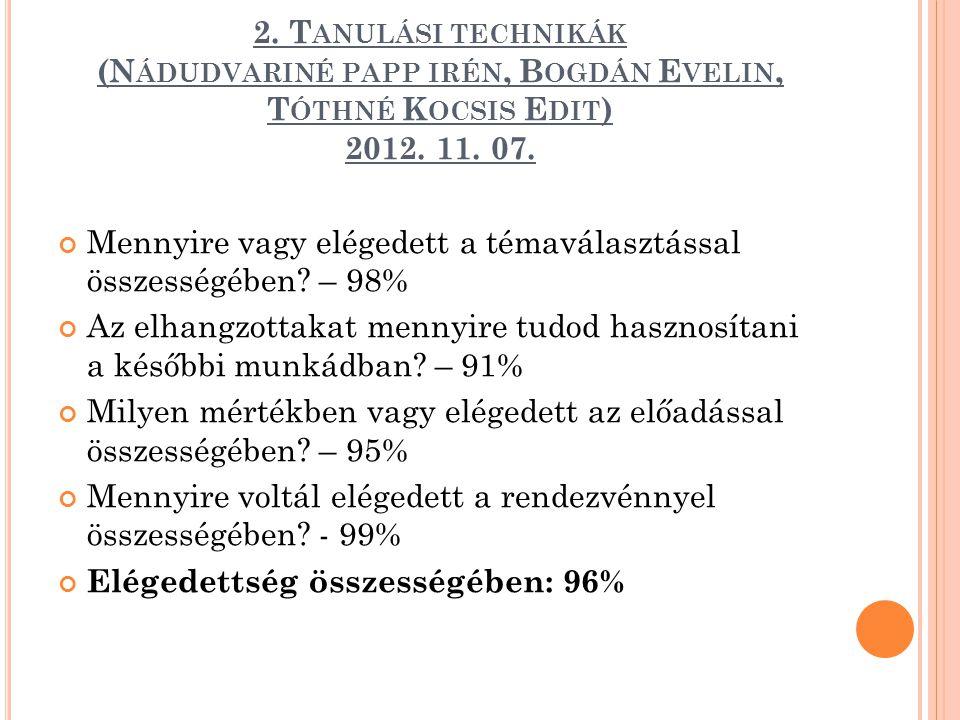 2. Tanulási technikák (Nádudvariné papp irén, Bogdán Evelin, Tóthné Kocsis Edit) 2012. 11. 07.