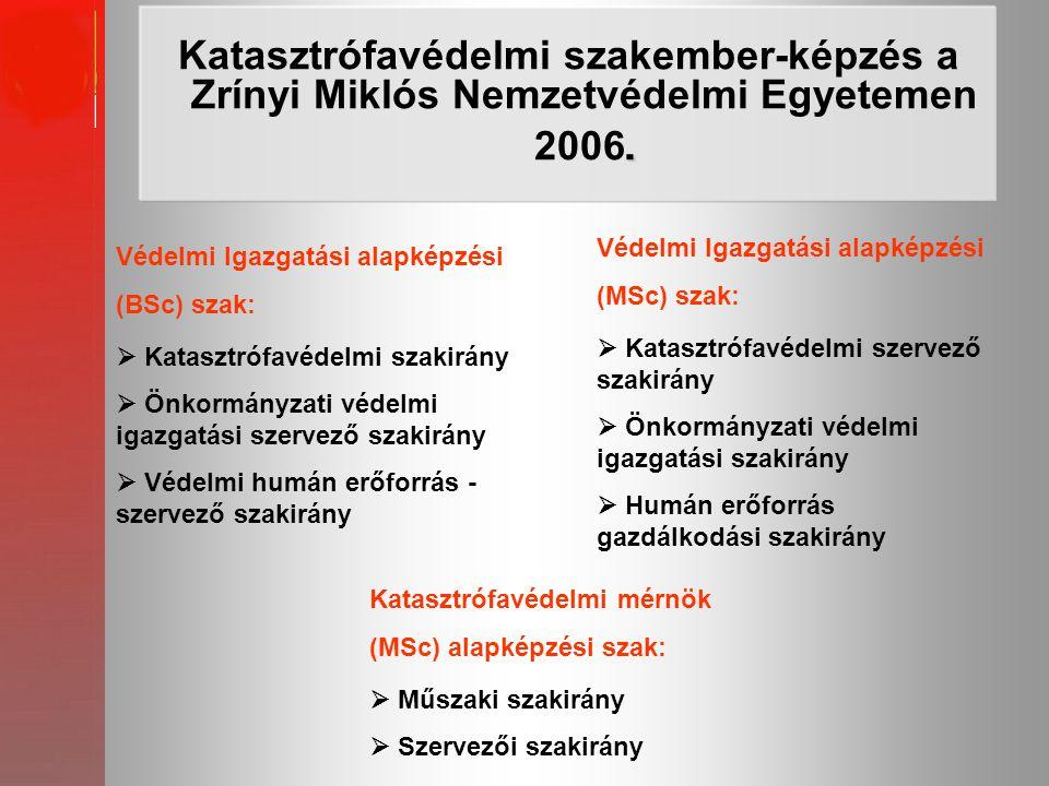 Katasztrófavédelmi szakember-képzés a Zrínyi Miklós Nemzetvédelmi Egyetemen 2006.
