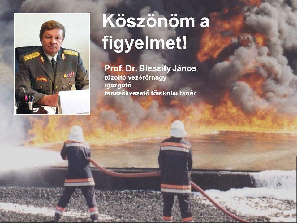 Köszönöm a figyelmet! Prof. Dr. Bleszity János tűzoltó vezérőrnagy