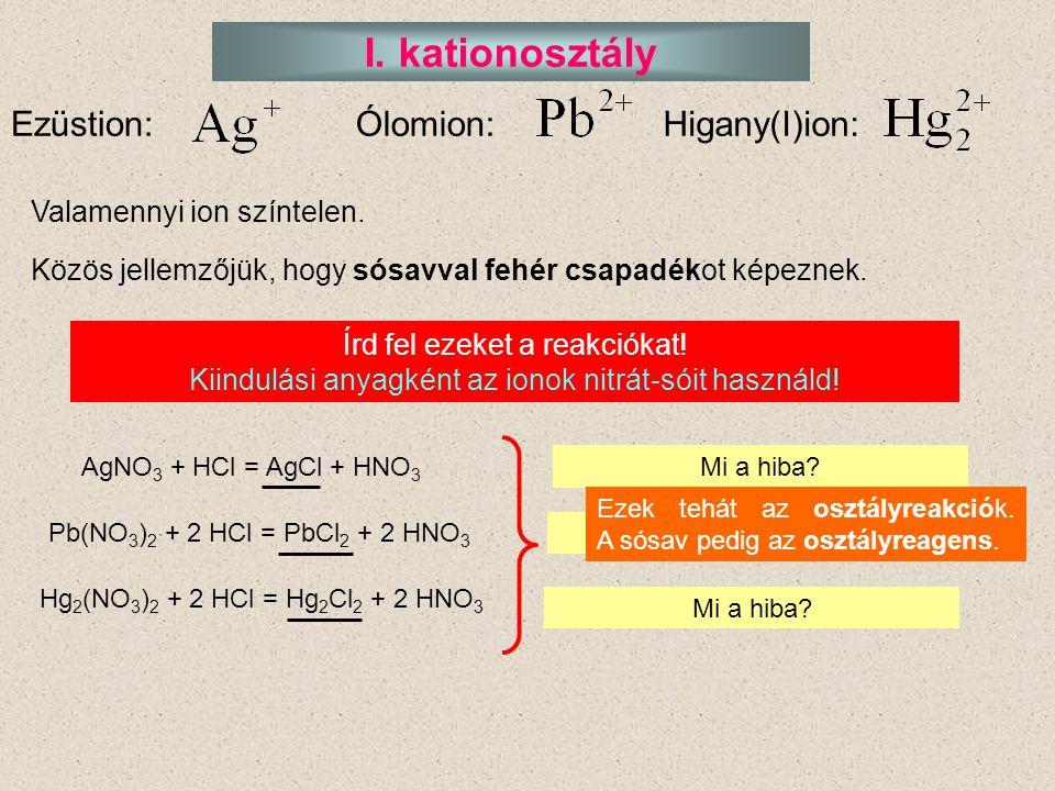 I. kationosztály Ezüstion: Ólomion: Higany(I)ion: