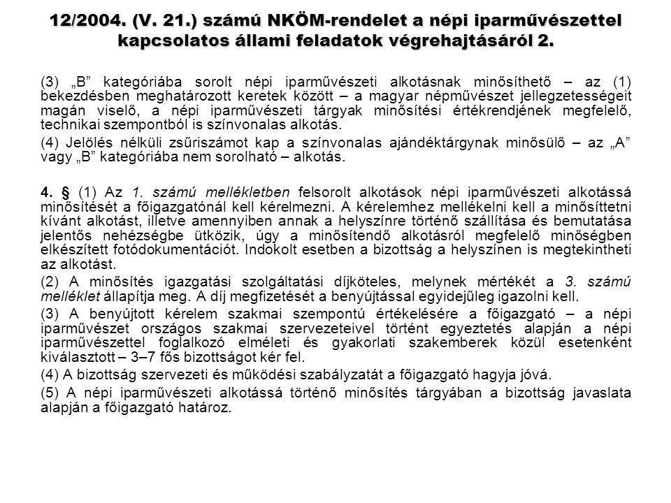 12/2004. (V. 21.) számú NKÖM-rendelet a népi iparművészettel kapcsolatos állami feladatok végrehajtásáról 2.