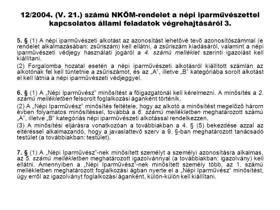 12/2004. (V. 21.) számú NKÖM-rendelet a népi iparművészettel kapcsolatos állami feladatok végrehajtásáról 3.