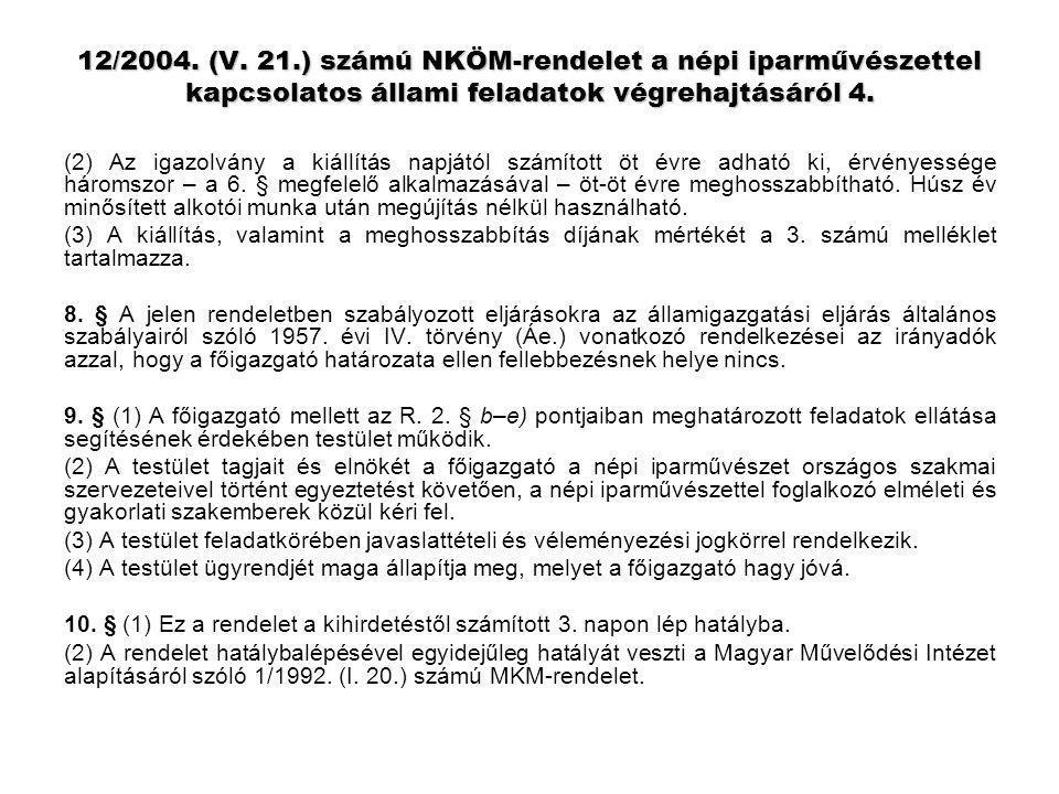 12/2004. (V. 21.) számú NKÖM-rendelet a népi iparművészettel kapcsolatos állami feladatok végrehajtásáról 4.