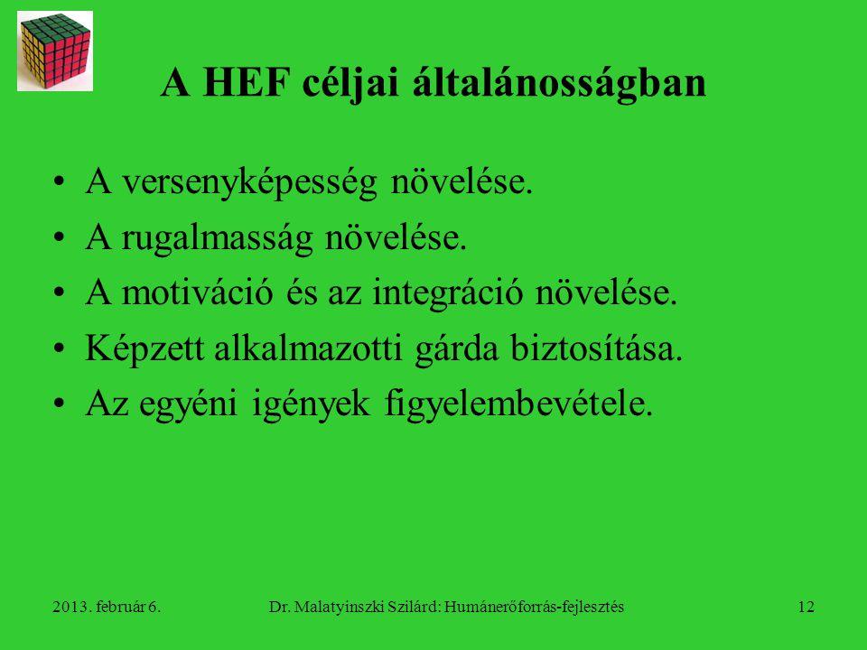 A HEF céljai általánosságban