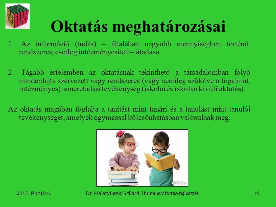 Oktatás meghatározásai