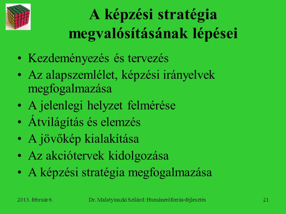 A képzési stratégia megvalósításának lépései