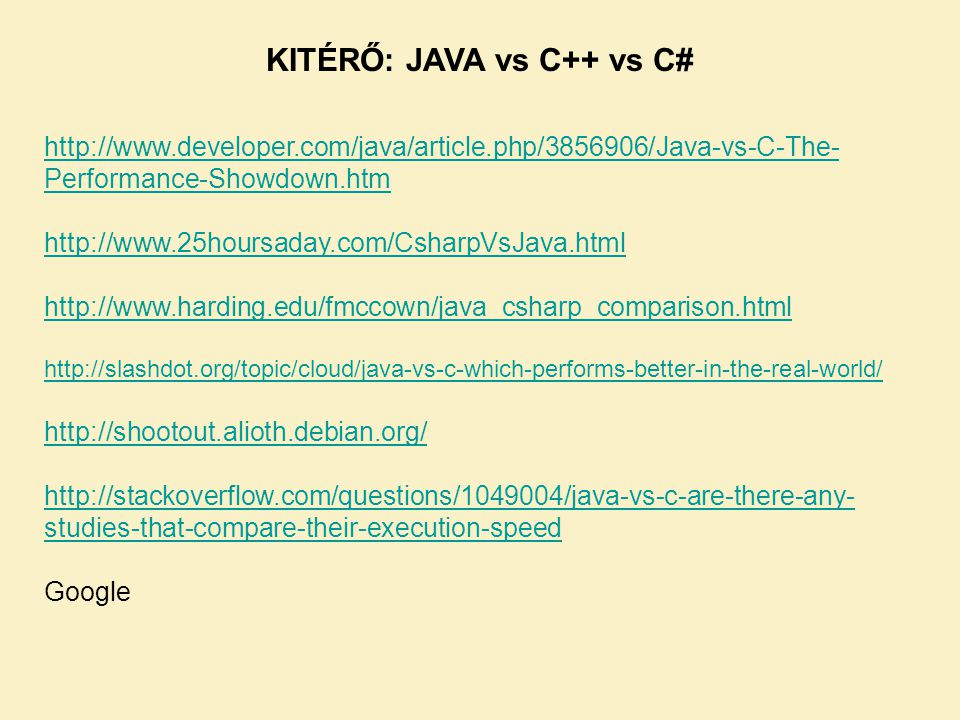 KITÉRŐ: JAVA vs C++ vs C#