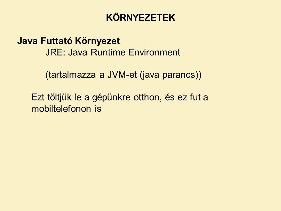 KÖRNYEZETEK Java Futtató Környezet. JRE: Java Runtime Environment. (tartalmazza a JVM-et (java parancs))