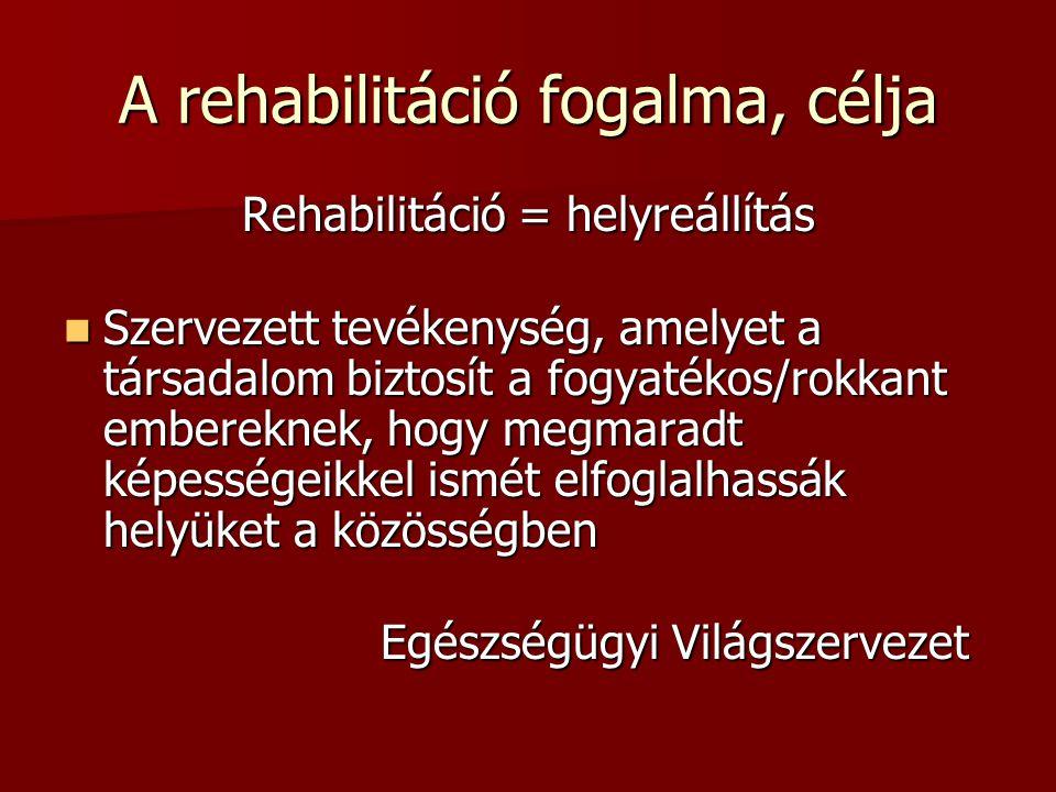 A rehabilitáció fogalma, célja