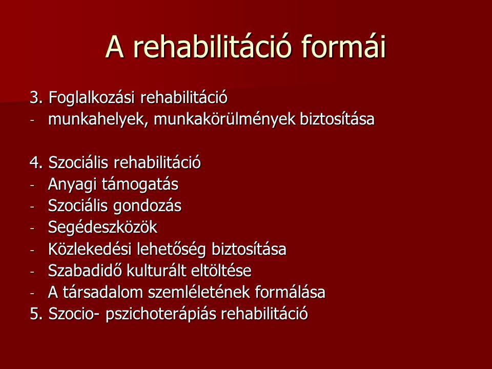 A rehabilitáció formái